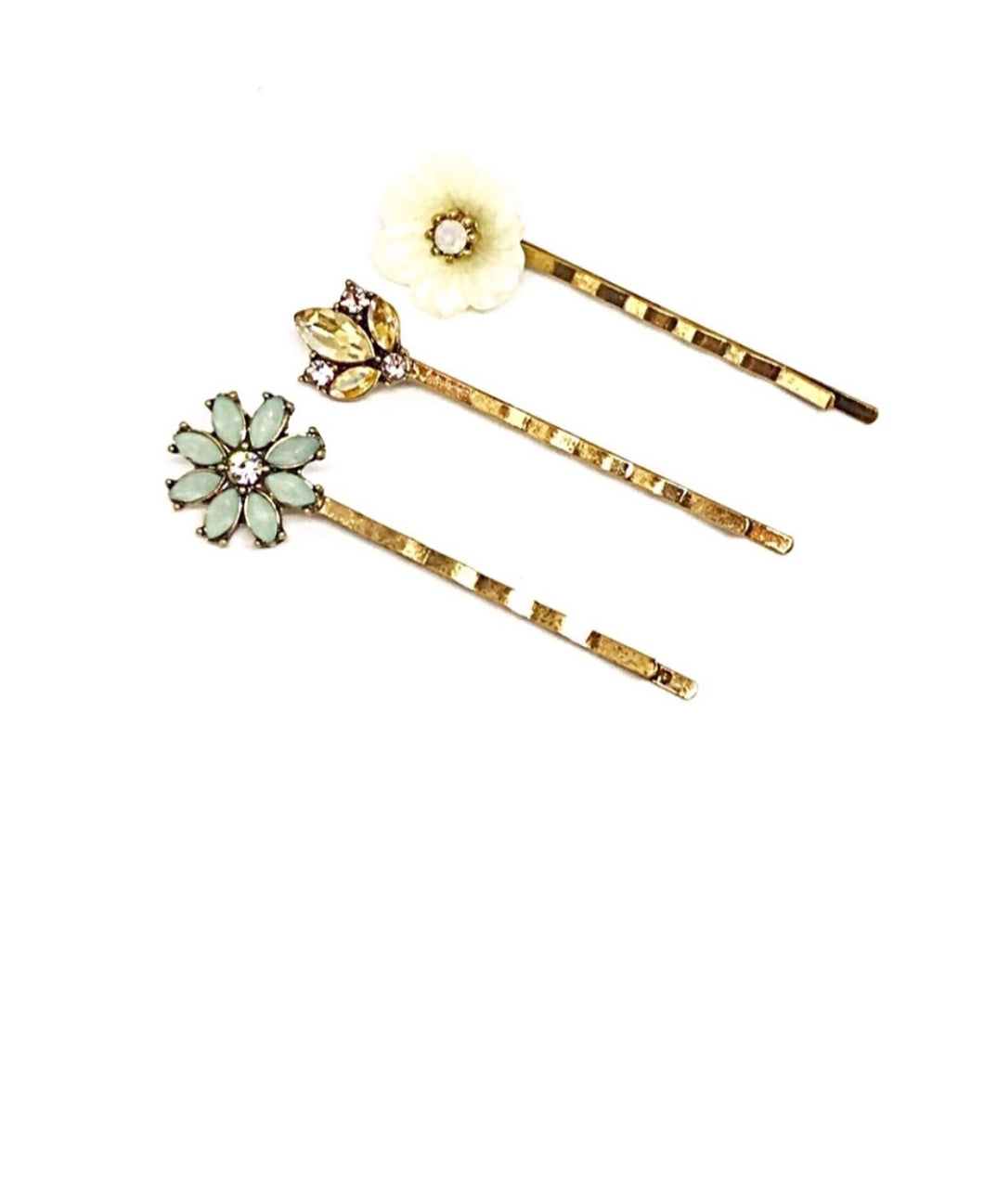 Gold Sparkling Flower Hairpin Set