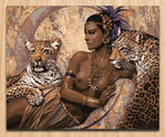 Woman with leopards | DIY oil paint by numbers - Bambuce