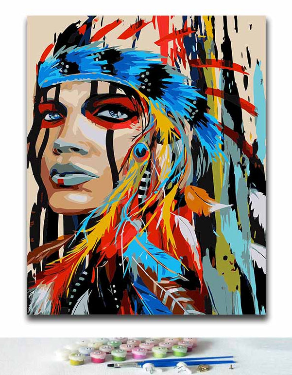 Colorful woman with feathers | DIY paint by numbers - Bambuce