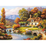 House by mountain brook (40x50cm|16x20inch) | DIY Acrylic Paint by Number - Bambuce