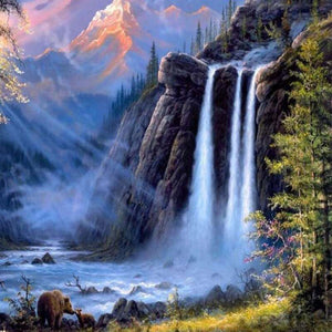 Waterfall in bear country (40x50cm|16x20inch) | DIY Propylene Paint by Numbers - Bambuce