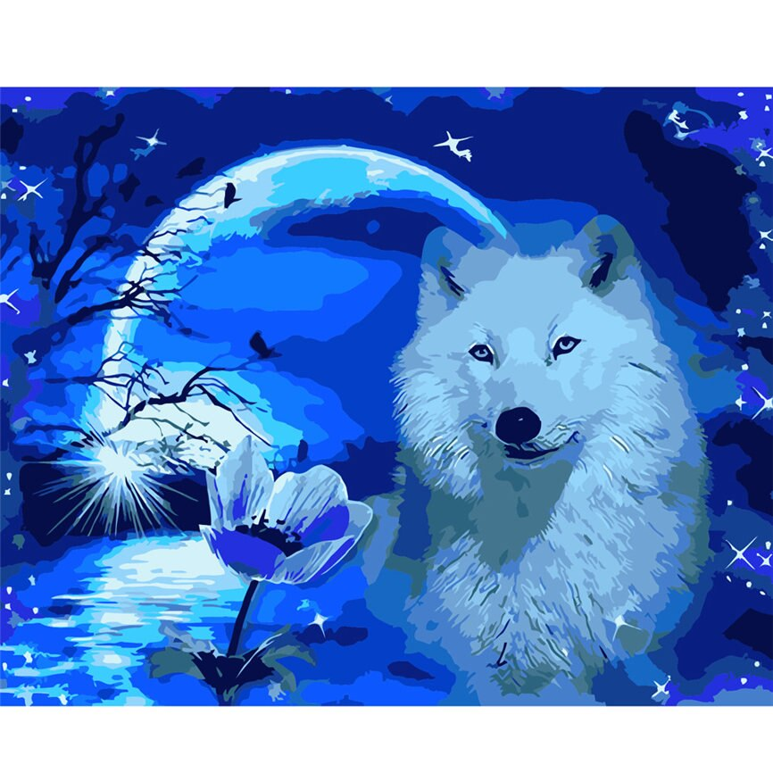 Artic wolf (40x50cm|16x20inch) | DIY oil Paint by Number - Bambuce