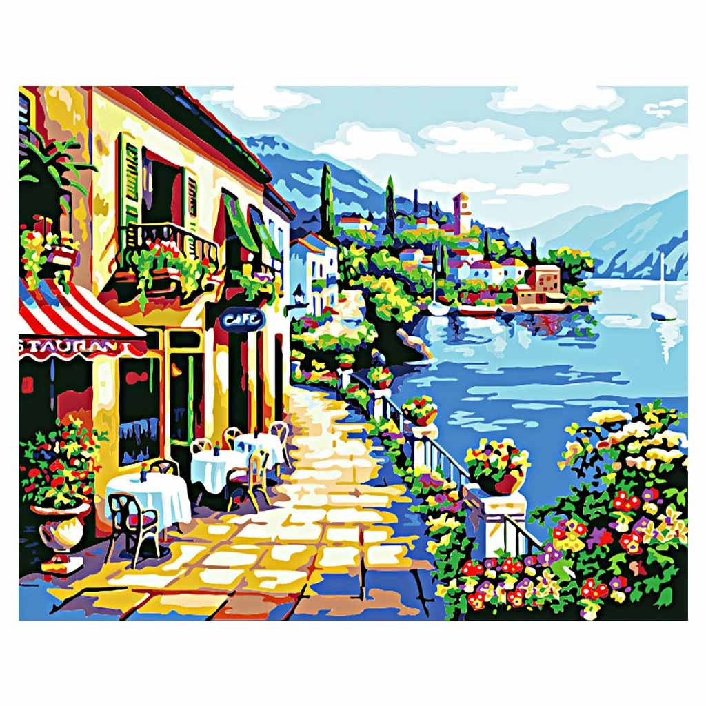 Lake Como (30x40cm|12x16inch) | Shipped in box mounted on canvas | DIY Acrylic Paint by Number | usps landscape (L) - Bambuce