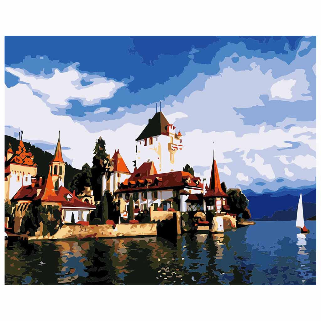 Lake view of Annecy (30x40cm|12x16inch) | Shipped in box mounted on canvas | DIY Acrylic Paint by Number | usps landscape (H) - Bambuce