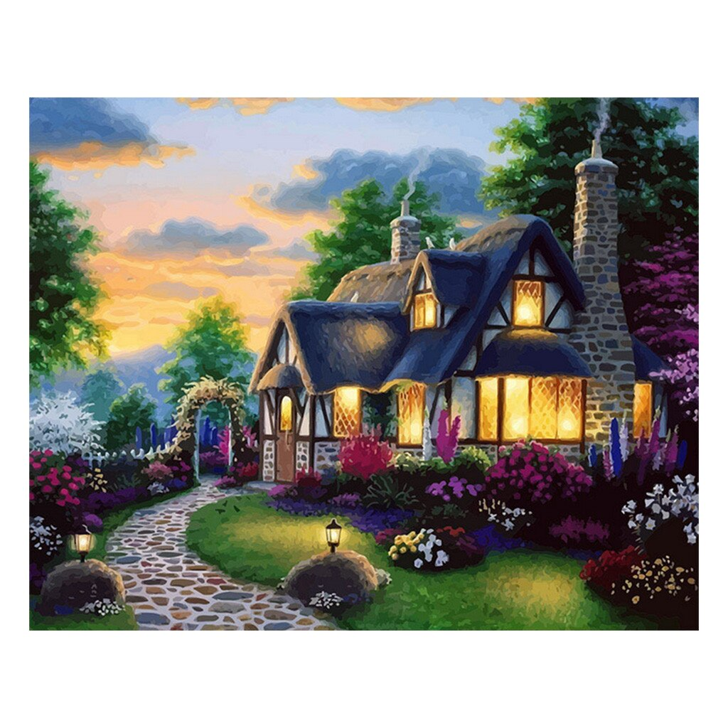 Hampshire thatched cottage (40x50cm|16x20inch) | DIY Acrylic Paint by Number - Bambuce