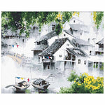 Misty Shanghai Zhujiajiao water town (30x40cm|12x16inch) | Shipped in box mounted on canvas | DIY Acrylic Paint by Number | usps flowers animals (A) - Bambuce