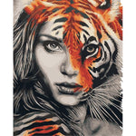 The tiger lady (40x50cm|16x20inch) | DIY oil Paint by Number - Bambuce