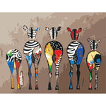 Colorful zebra's (40x50cm|16x20inch) | DIY oil Paint by Number - Bambuce