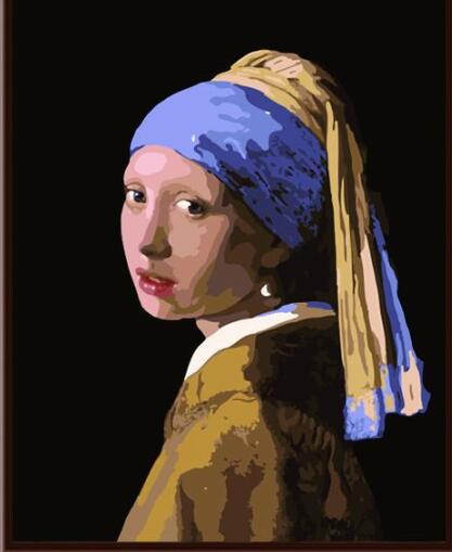 Johannes Vermeer | Girl with a Pearl Earring | DIY Oil Paint by Numbers (40x50 No frame) - Bambuce