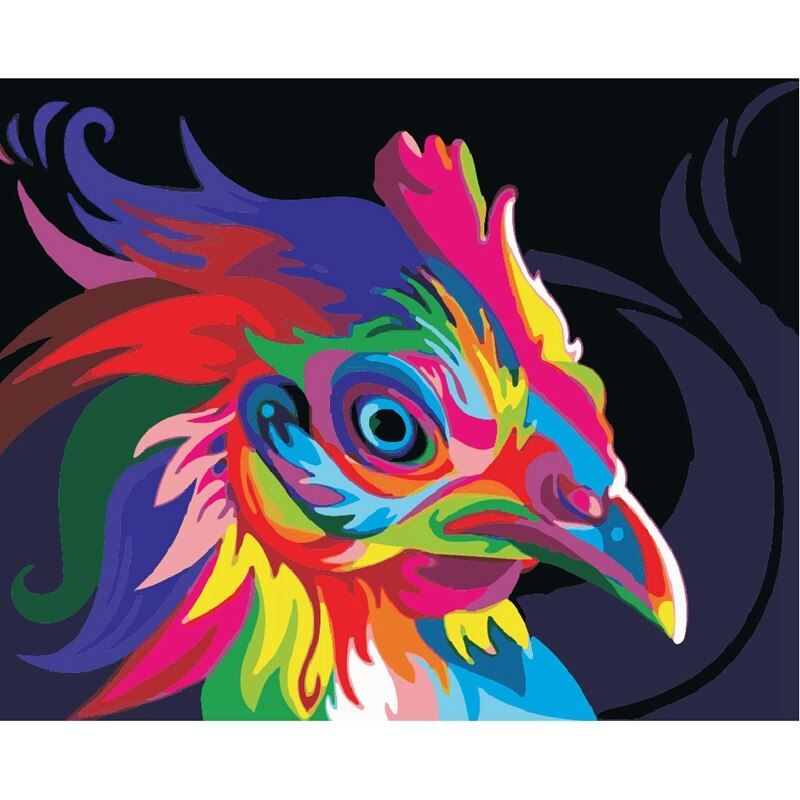 Colorful rooster (40x50cm|16x20inch) | DIY oil Paint by Number - Bambuce