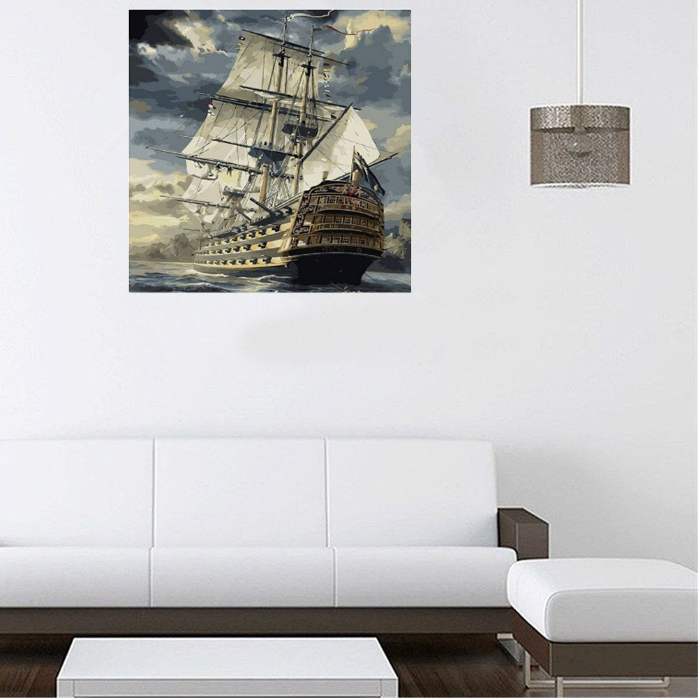 Ship departing for the high seas (40x50cm|16x20inch) | DIY oil Paint by Number | USPS landscape (Multicolor) - Bambuce