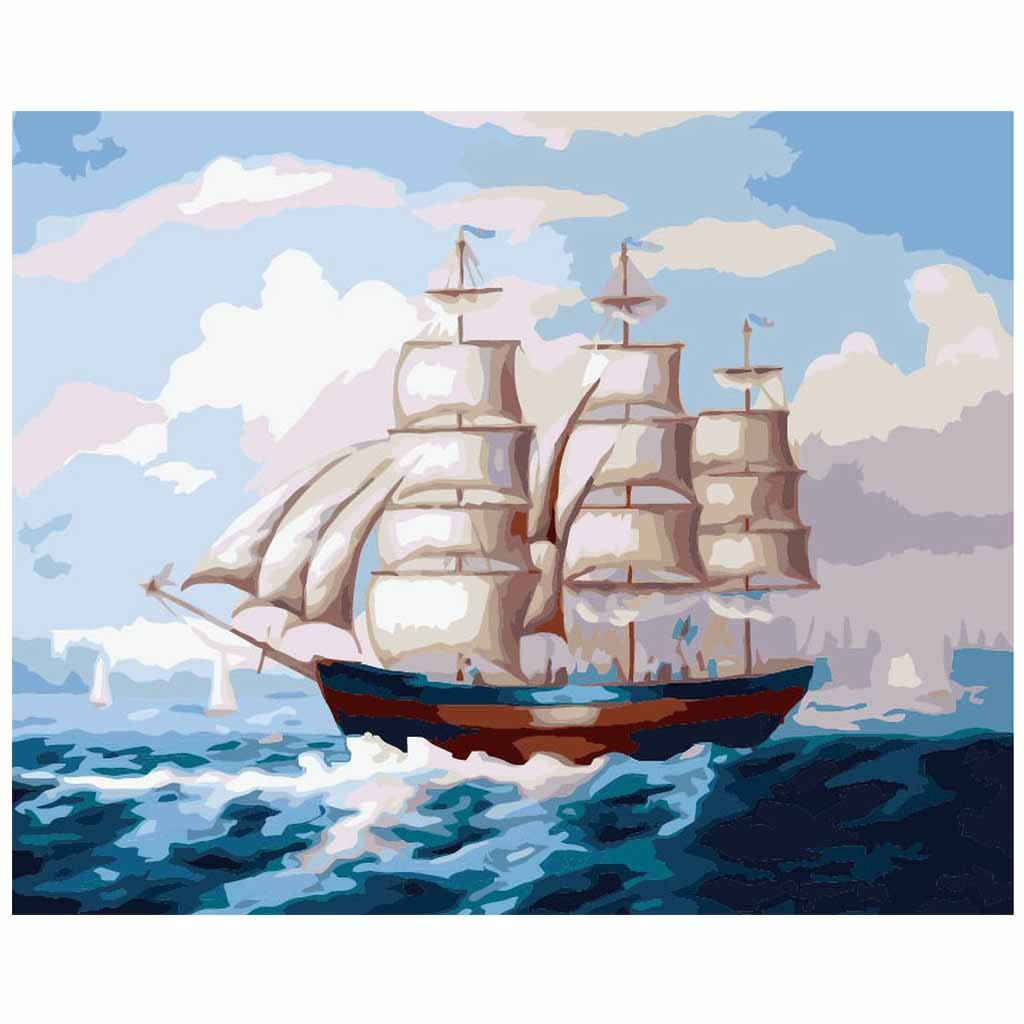 The barque embarks (30x40cm|12x16inch) | Shipped in box mounted on canvas | DIY Acrylic Paint by Number | usps landscape (I) - Bambuce