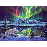 Polar bears watching the northern lights (40x50cm|16x20inch) | DIY Propylene Paint by Numbers - Bambuce