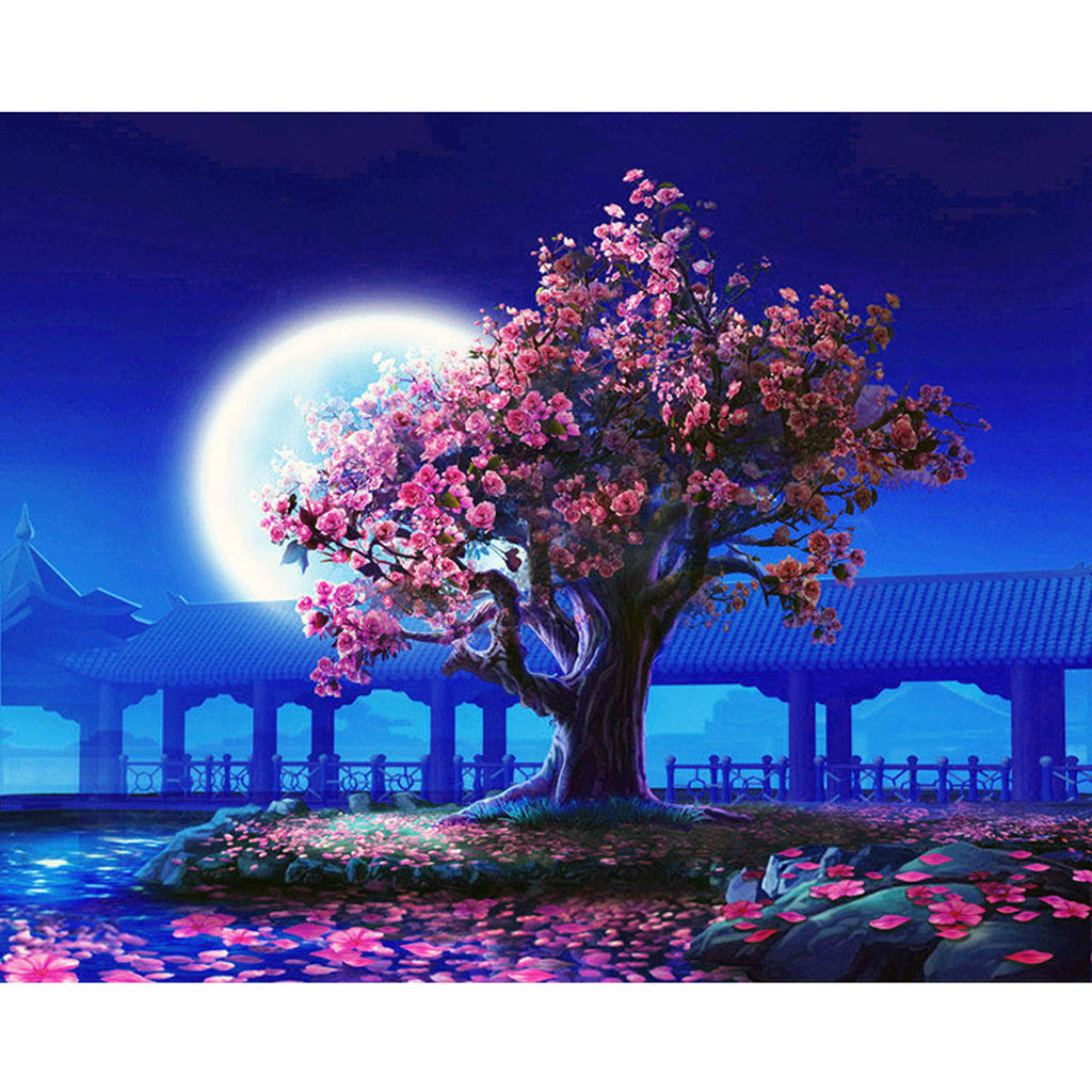 Japanese garden in moonlight (40x50cm|16x20inch) | DIY Acrylic Paint by Number - Bambuce