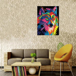Colorful wolf (40x50cm|16x20inch) | DIY oil Paint by Number with frame included | USPS animals (MULTI) - Bambuce