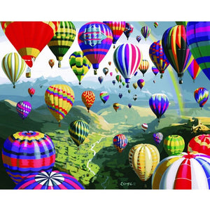 Colorful Air Balloons (40x50cm) | DIY oil Paint by Number - Bambuce