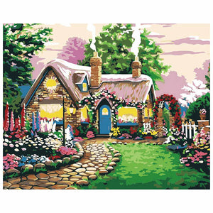 Flower cottage (30x40cm|12x16inch) | Shipped in box mounted on canvas | DIY Acrylic Paint by Number | usps landscape (J) - Bambuce