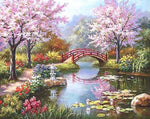 Cherry Trees Blossoming (40x50cm) DIY Framed Oil Painting by Numbers - Bambuce
