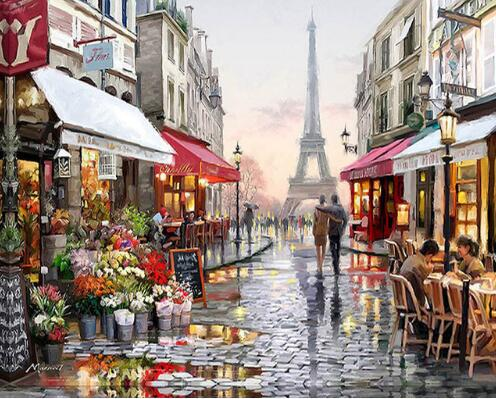 Evening Walk in Paris (40x50cm) DIY Oil Paint by Numbers - Bambuce