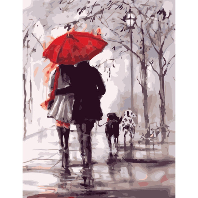 Red umbrella (40x50cm) DIY Paint by Numbers - Bambuce