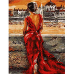 Woman with a red dress (40x50cm) DIY PBN Oil Painting By Numbers - Bambuce