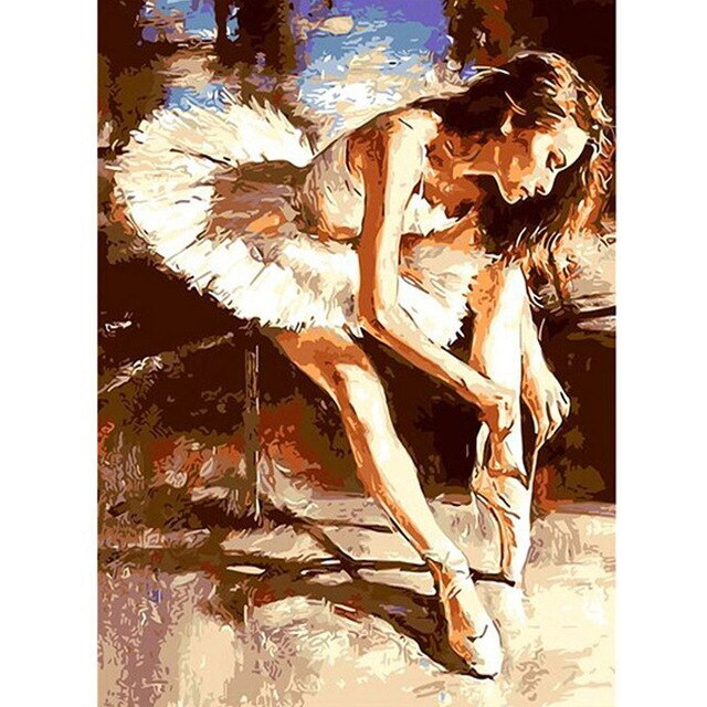 DIY PBN Ballet Dancing Girl (40x50cm) Acrylic Painting By Numbers On Canvas Framed Wall Pictures Art - Bambuce