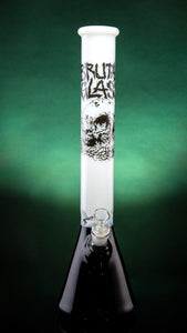 "SKULL FULL OF MAGGOTS 17"" 45mm Beaker-White top Black bottom ON SALE"