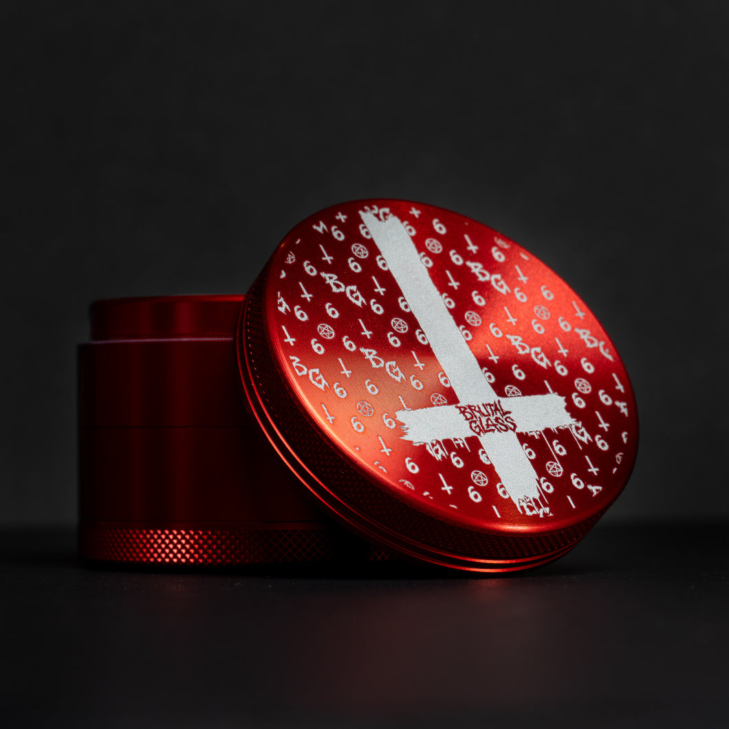 'LaVey Suitton Inverted Cross' Aluminum Grinder [Blood Red]
