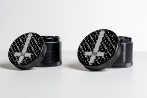 'LaVey Suitton Inverted Cross' Aluminum Grinder [Abysmal Black]