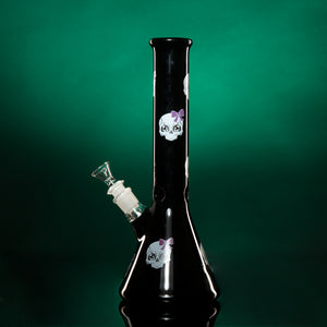 "FEMALE SKULL WITH PURPLE BOW. 12.5"" 45mm Beaker-Black"