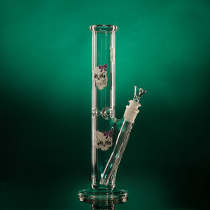 "FEMALE SKULL WITH PURPLE BOW 12.5"" 45mm Straight Tube-Clear"