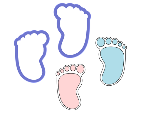 Baby Right Foot, Left Foot, or Both Feet Cookie Cutters