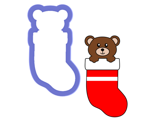 Bear in Stocking Cookie Cutter