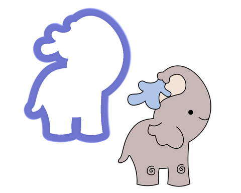 Elephant Spraying Water Cookie Cutter