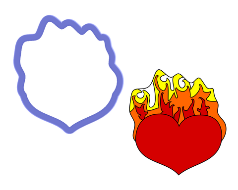 Heart on Fire Cookie Cutter