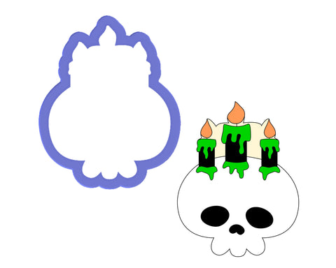 Skull with Three Candles Cookie Cutter
