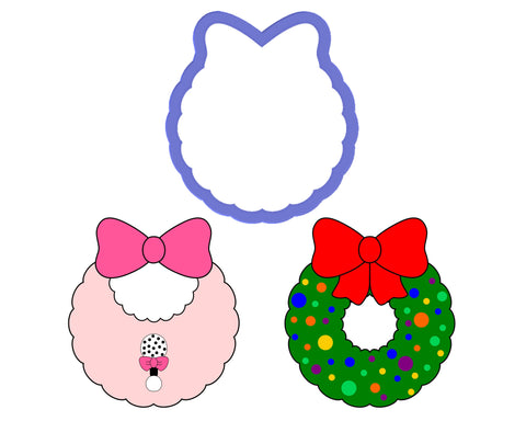 Wreath with Bow at Top - Bib with Bow Cookie Cutter