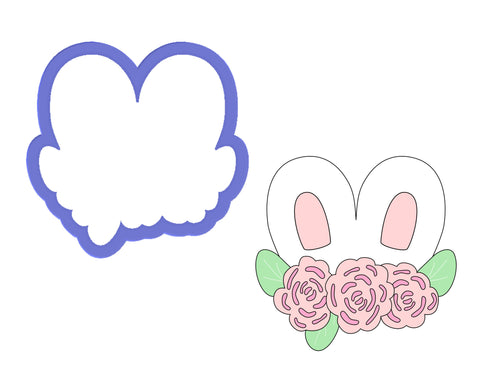 Bunny Ears with Flowers Cookie Cutter