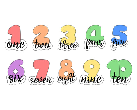 Chubby Numbers 1-10 with Script Outline Cookie Cutter Set