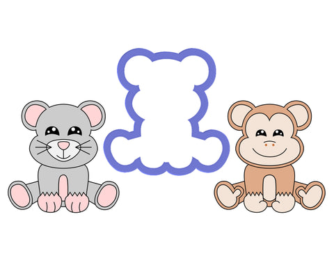 Monkey Sitting - Mouse Sitting Cookie Cutter