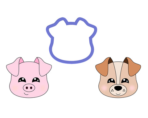 Dog Face #2 - Pig Face #3 Cookie Cutter