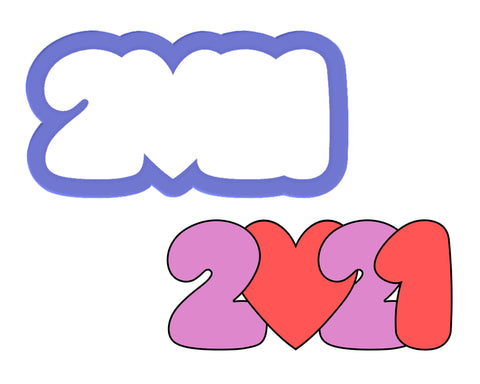 2021 with Heart Cookie Cutter