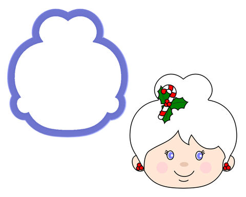 Mrs Claus Face - Woman with Bun Cookie Cutter