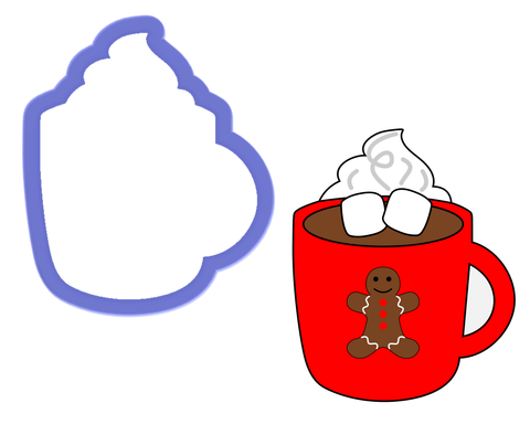 Mug with Marshmallows, Whipped Cream, Steam Cookie Cutter