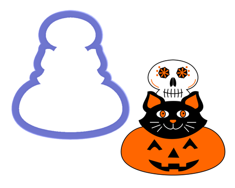 Pumpkin, Cat, and Skull Stacked Cookie Cutter