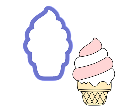 Soft Serve Ice Cream on a Sugar Cone Cookie Cutter