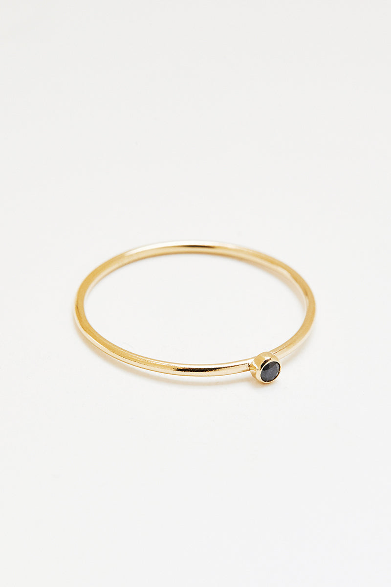 Black Spinel Stacking Ring - Gold