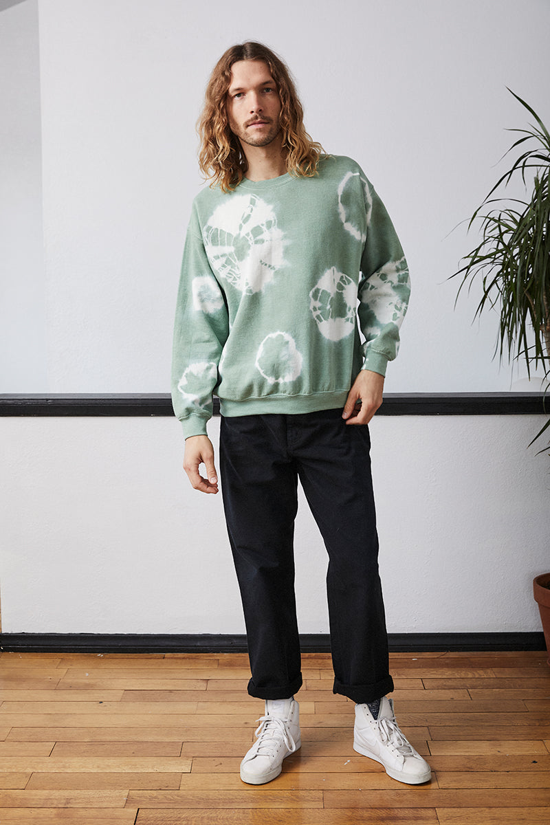 Tie Dye Crewneck Sweater - Evergreen