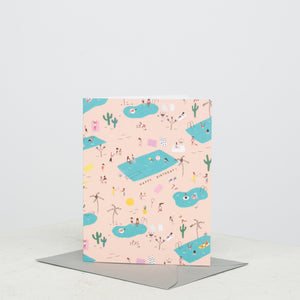 Pool Party Birthday Card - individual-medley