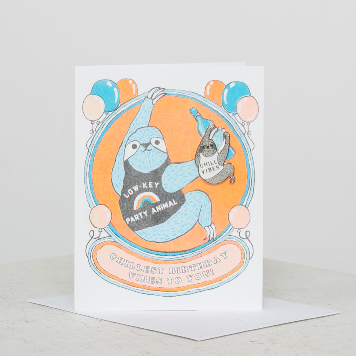 Sloth Chill Bday Party Card w/ Mag Sloth Pin - individual-medley